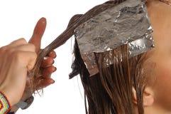 Färga hår Fotografering för Bildbyråer
