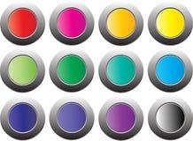 Färga knappen på den vita bakgrunden som isoleras för website, advertizingen, social marknadsföring Arkivfoton