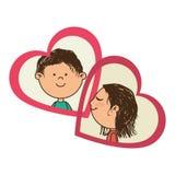 Färga konturn med hennes och honom i hjärtaramar Royaltyfria Bilder