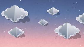 Färga lämnad himmel i solnedgångtid som är full av moln som rakt till flyttar sig Bakgrund för design för konst för tecknad filmp stock illustrationer