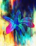 Färga liljan för blyertspennateckningen på pappers- bakgrund och färga abstrakt bakgrund Arkivbilder