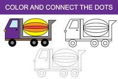 Färga och förbind prickarna för att skapa transport för konkret blandare stock illustrationer