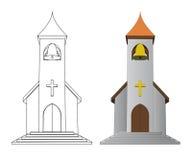 Färga in och fodra den dra kyrkan med sätta en klocka på vektorn Royaltyfri Fotografi