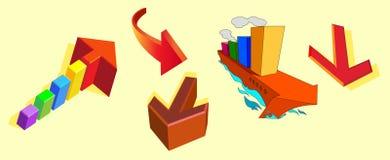 Färga pilar vektor illustrationer