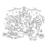 Färga sidaöversikten av barn dekorera julgranen med prydnader och gåvor Jul nytt år vektor illustrationer