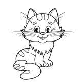 Färga sidaöversikten av den fluffiga katten för tecknad film Färgläggningbok för ungar Arkivbild