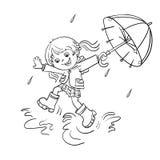 Färga sidaöversikten av en flickabanhoppning i regnet Arkivfoton