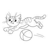 Färga sidaöversikten av en fluffig katt som spelar med bollen Arkivbilder