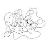 Färga sidaöversikten av en fluffig kattunge som spelar med bollen av yaen Arkivbild