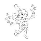 Färga sidaöversikten av en rolig clown som jonglerar bollar Arkivfoton