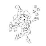 Färga sidaöversikten av en rolig clown som jonglerar bollar Arkivfoto