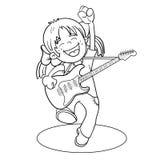 Färga sidaöversikten av en tecknad filmflicka med en gitarr Fotografering för Bildbyråer