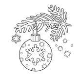 Färga sidaöversikten av julgarnering Julgranfilial nytt år Färgläggningbok för ungar Royaltyfri Foto