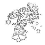 Färga sidaöversikten av julklockan Julgranfilial Fotografering för Bildbyråer