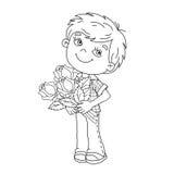 Färga sidaöversikten av pojken som rymmer en bukett av rosor Royaltyfri Bild