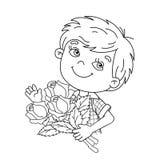 Färga sidaöversikten av pojken som rymmer en bukett av rosor Arkivfoto