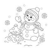 Färga sidaöversikten av snögubben med julgranen Fotografering för Bildbyråer