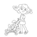 Färga sidaöversikten av tecknad filmflickan som spelar med dockor med st Arkivfoton