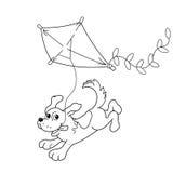 Färga sidaöversikten av tecknad filmhunden med en drake för färgläggningdiagram för bok färgrik illustration Royaltyfri Bild