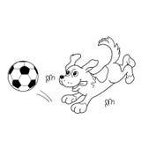 Färga sidaöversikten av tecknad filmhunden med fotbollbollen Arkivbild