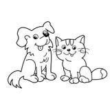 Färga sidaöversikten av tecknad filmkatten med hunden husdjur Färgläggningbok för ungar Arkivbild