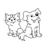 Färga sidaöversikten av tecknad filmkatten med hunden husdjur Färgläggningbok för ungar Royaltyfri Bild