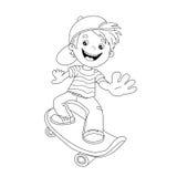 Färga sidaöversikten av tecknad filmpojken på skateboarden Arkivbilder