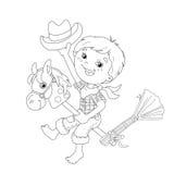 Färga sidaöversikten av tecknad filmpojken som spelar cowboyen med leksakhor Royaltyfri Foto