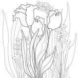 Färga sidaboken med dekorativ dekorativ abstrakt blom- el Arkivfoton