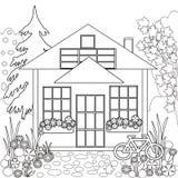 Färga sidaboken Svartvit trädgårds- blom- illustration Arkivfoton
