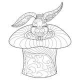 Färga sidakanin Hand dragen illustration för tappningklotterkanin för påsk Royaltyfria Bilder