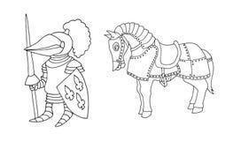 Färga sidan av den medeltida riddaren för tecknad film som prepering för att adla Tournament vektor illustrationer