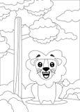 färga sidan av ett lejon sitt och att le stock illustrationer