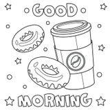 Färga sidan 'bra morgon ', royaltyfri illustrationer
