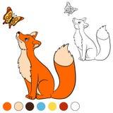 Färga sidan Färga mig: räv Den gulliga härliga räven ser fjärilen stock illustrationer