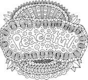 Färga sidan för vuxna människor med mandalaen och fridsamt ord klotter stock illustrationer