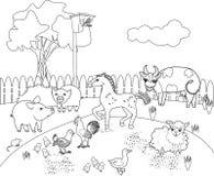 Färga sidan Lantligt landskap med olika lantgårddjur stock illustrationer