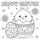 Färga sidan 'lycklig påsk ', stock illustrationer