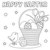 Färga sidan 'lycklig påsk ', royaltyfri illustrationer