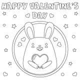 Färga sidan 'lyckliga valentin dag ', stock illustrationer