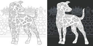 Färga sidan med den dalmatian hunden royaltyfri illustrationer
