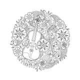 Färga sidan med den dekorativa fiolen i cirkel forma på vit bakgrund Royaltyfria Foton