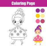 Färga sidan med den gulliga prinsessan Bildande lek för barn royaltyfri illustrationer