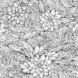 Färga sidan med den sömlösa modellen av blommor, fjärilar och Royaltyfri Fotografi