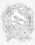 Färga sidan med en liten fågel och rosor Arkivbild