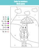 Färga sidan med flickan Färg vid nummermatematikleken royaltyfri illustrationer