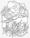 Färga sidan med flyghornbillen Royaltyfria Bilder