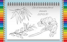 Färga sidan med isolerade bilder av blommor Royaltyfri Foto