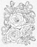 Färga sidan med tre rosor Royaltyfria Bilder