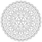 Färga sidan Svartvit vektorillustration av mandalaen stock illustrationer